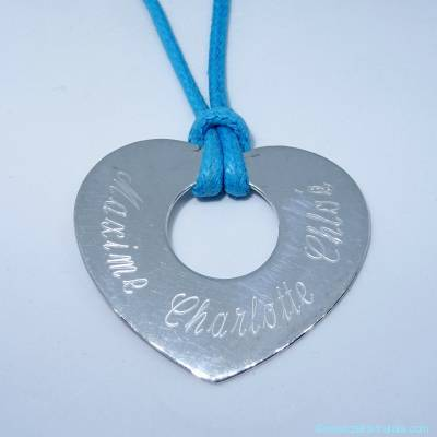 Pendentifs personnalisés : Le grand cœur plat, en argent