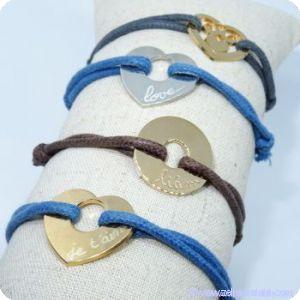 Bracelets personnalisés sur cordon et sur Liberty