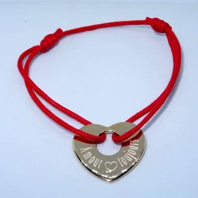 Bracelet personnalisé cœur plat plaqué or