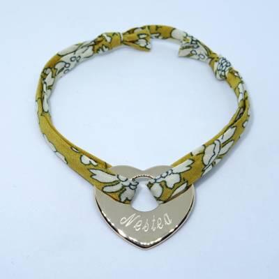 Bracelet personnalisé cœur plat en argent