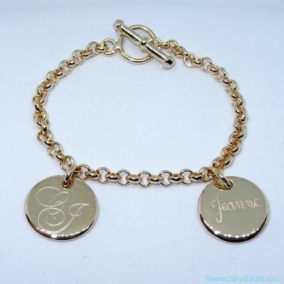Bracelet personnalisé plaqué or deux breloques