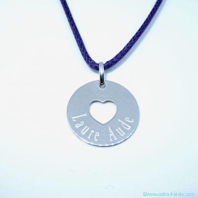 Pendentifs personnalisés : La petite médaille cœur évidé, en argent.
