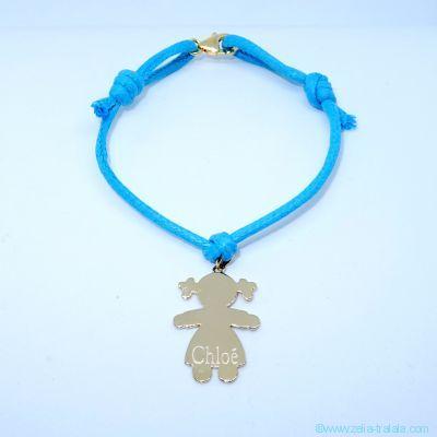 Bracelet personnalisé : le bracelet petite fille plaqué or avec bélière