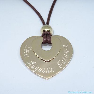 Pendentifs personnalisés : Le double cœur plaqué or avec perle