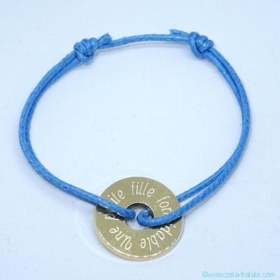 Bracelet personnalisé : Mini cible plaqué or sur cordon