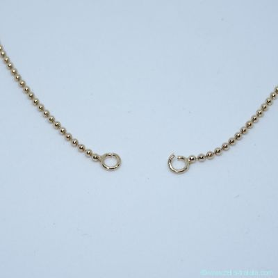 Collier fin maille Boules, anneaux ouverts, en plaqué or